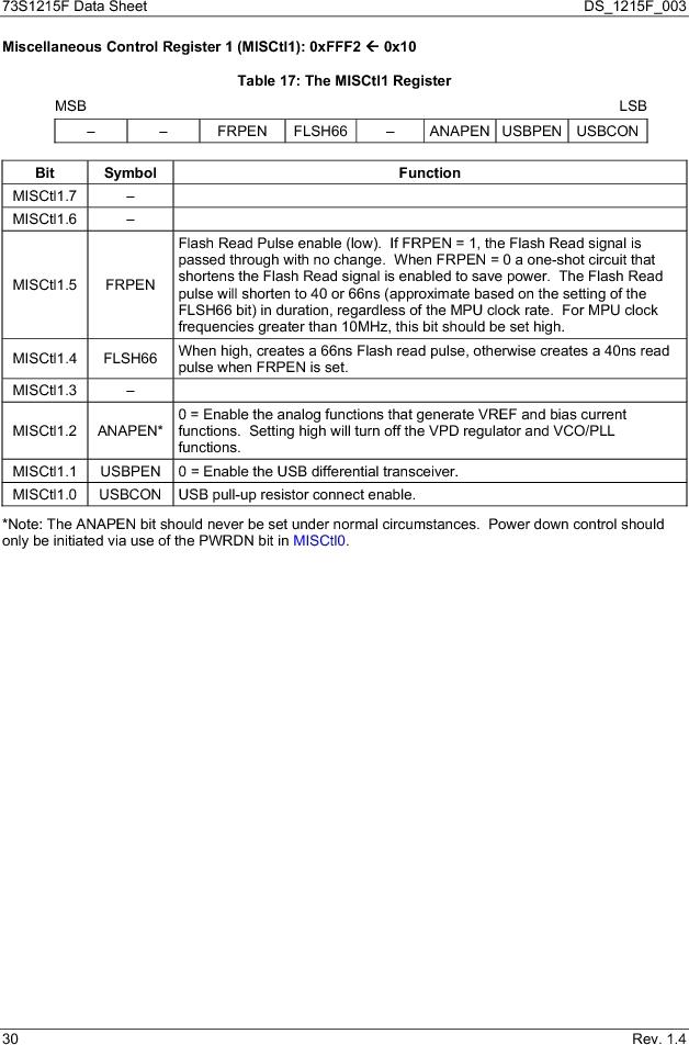 73S1215F-44IM/F/P ,Maxim Integrated厂商,IC SMART CARD READER PROG 44-QFN, 73S1215F-44IM/F/P datasheet预览  第30页