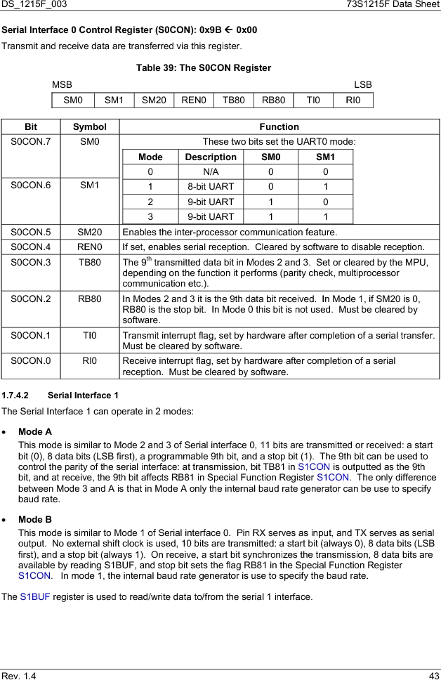73S1215F-44IM/F/P ,Maxim Integrated厂商,IC SMART CARD READER PROG 44-QFN, 73S1215F-44IM/F/P datasheet预览  第43页