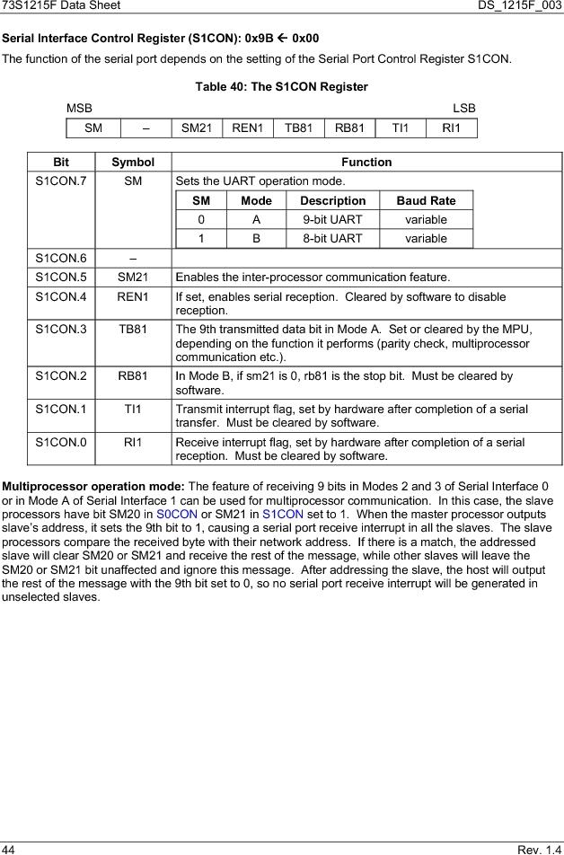 73S1215F-44IM/F/P ,Maxim Integrated厂商,IC SMART CARD READER PROG 44-QFN, 73S1215F-44IM/F/P datasheet预览  第44页