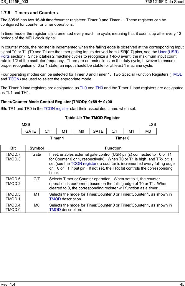73S1215F-44IM/F/P ,Maxim Integrated厂商,IC SMART CARD READER PROG 44-QFN, 73S1215F-44IM/F/P datasheet预览  第45页