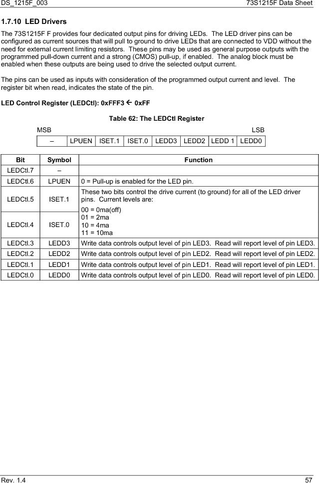 73S1215F-44IM/F/P ,Maxim Integrated厂商,IC SMART CARD READER PROG 44-QFN, 73S1215F-44IM/F/P datasheet预览  第57页