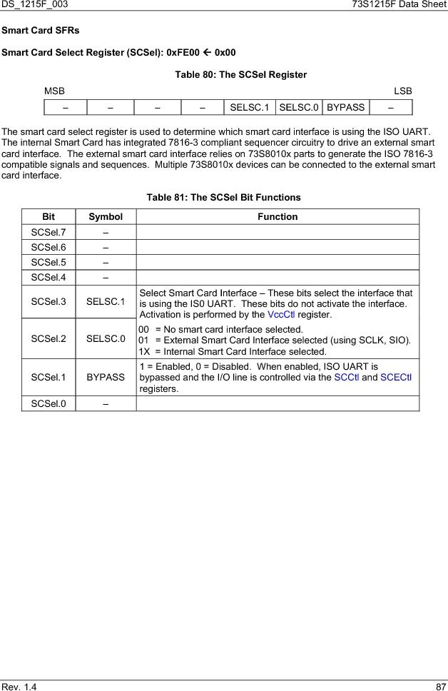 73S1215F-44IM/F/P ,Maxim Integrated厂商,IC SMART CARD READER PROG 44-QFN, 73S1215F-44IM/F/P datasheet预览  第87页