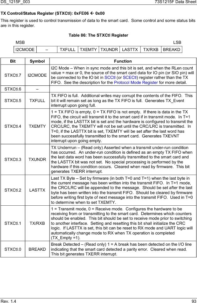 73S1215F-44IM/F/P ,Maxim Integrated厂商,IC SMART CARD READER PROG 44-QFN, 73S1215F-44IM/F/P datasheet预览  第93页