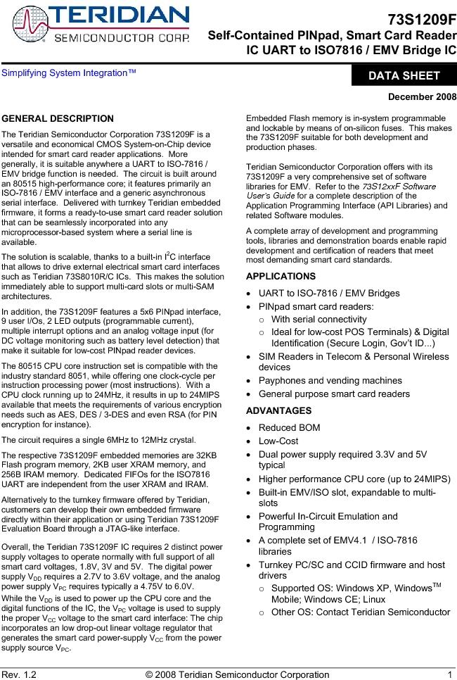 73S1209F-68IM/F/P ,Maxim Integrated厂商,IC SMART CARD READER PROG 68-QFN, 73S1209F-68IM/F/P datasheet预览  第1页
