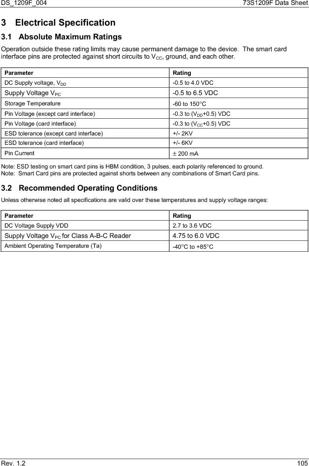 73S1209F-68IM/F/P ,Maxim Integrated厂商,IC SMART CARD READER PROG 68-QFN, 73S1209F-68IM/F/P datasheet预览  第105页