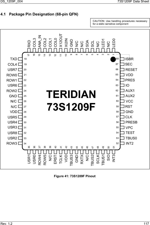 73S1209F-68IM/F/P ,Maxim Integrated厂商,IC SMART CARD READER PROG 68-QFN, 73S1209F-68IM/F/P datasheet预览  第117页