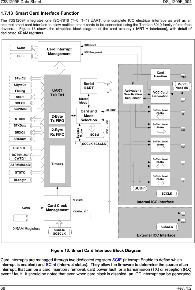 73S1209F-68IM/F/P ,Maxim Integrated厂商,IC SMART CARD READER PROG 68-QFN, 73S1209F-68IM/F/P datasheet预览  第68页