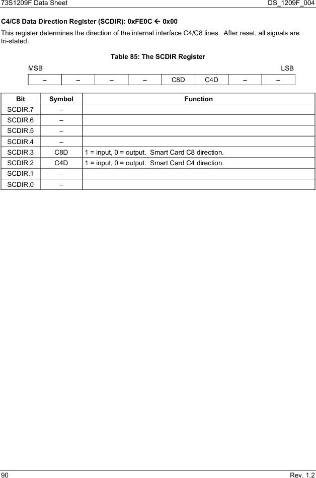 73S1209F-68IM/F/P ,Maxim Integrated厂商,IC SMART CARD READER PROG 68-QFN, 73S1209F-68IM/F/P datasheet预览  第90页