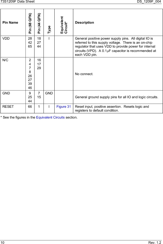 73S1209F-68IM/F/P ,Maxim Integrated厂商,IC SMART CARD READER PROG 68-QFN, 73S1209F-68IM/F/P datasheet预览  第10页