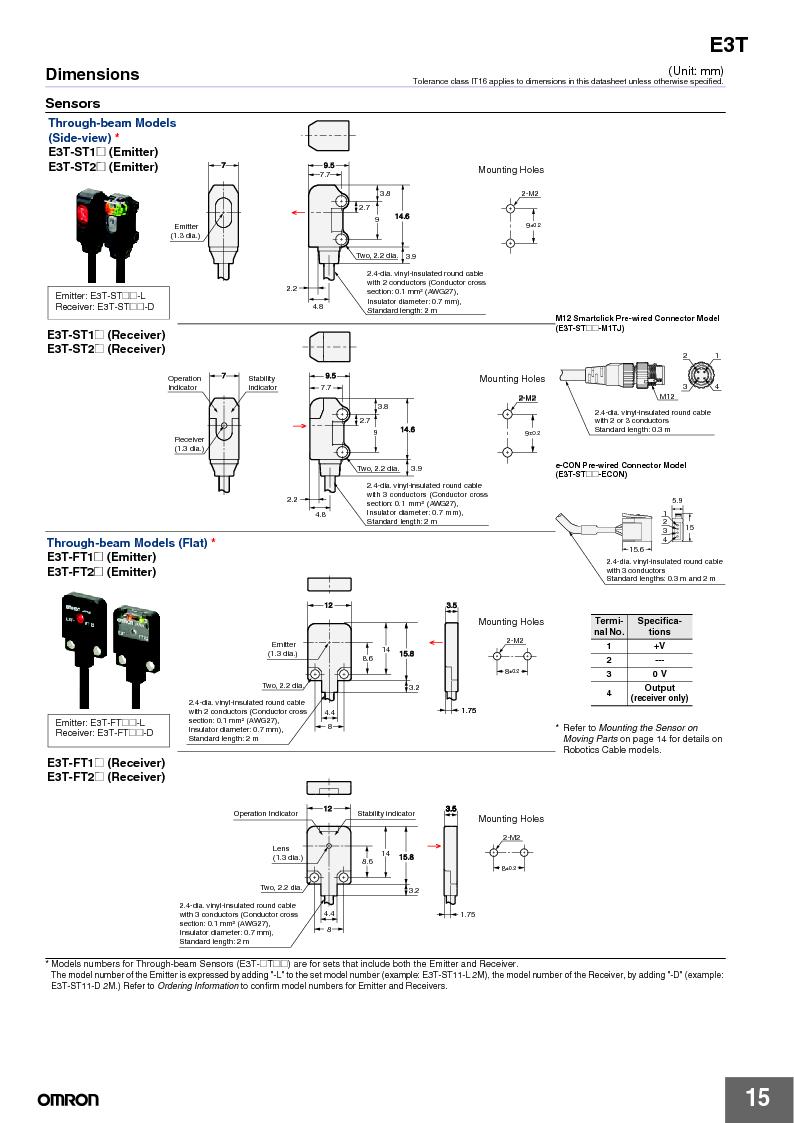 E3T-ST22 2M ,Omron厂商,PHOTOELECTRIC, E3T-ST22 2M datasheet预览  第15页