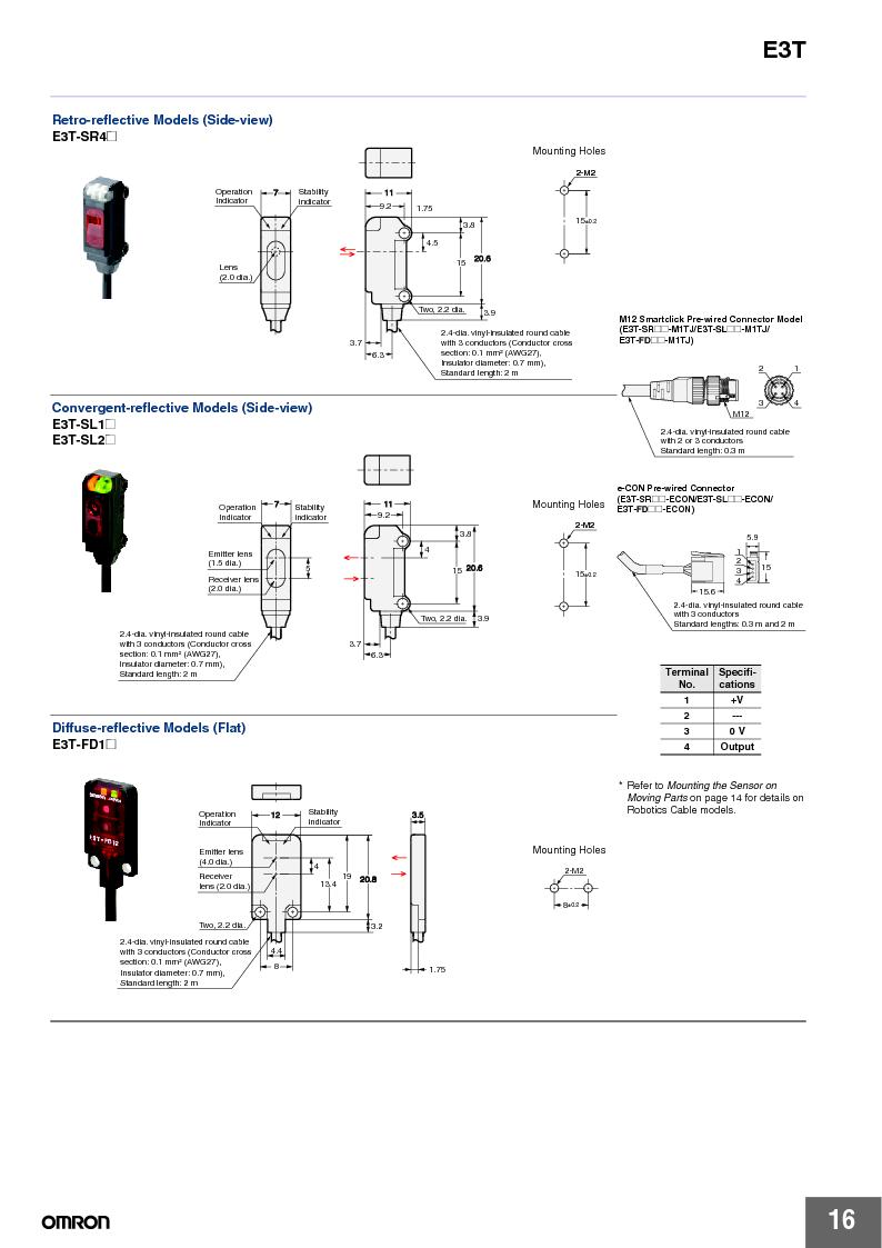 E3T-ST22 2M ,Omron厂商,PHOTOELECTRIC, E3T-ST22 2M datasheet预览  第16页