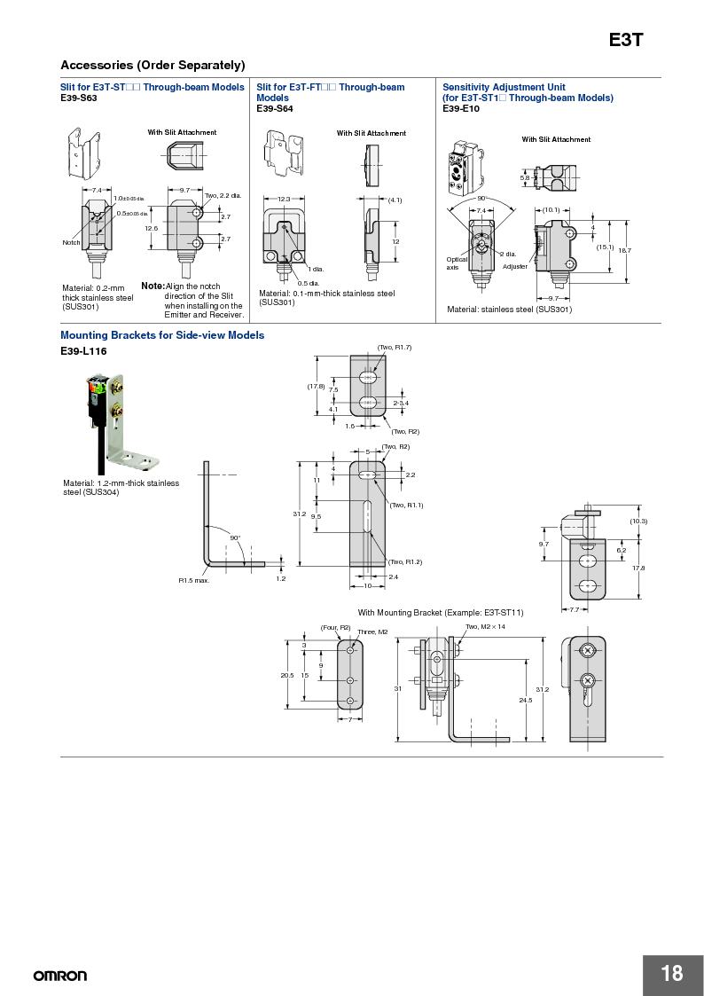 E3T-ST22 2M ,Omron厂商,PHOTOELECTRIC, E3T-ST22 2M datasheet预览  第18页