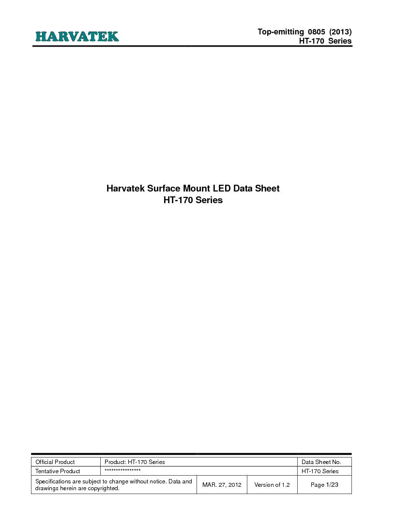 HT-170TW-5510 ,Harvatek International厂商,Standard LED - SMD White InGaN 220mcd 20mA, HT-170TW-5510 datasheet预览  第1页