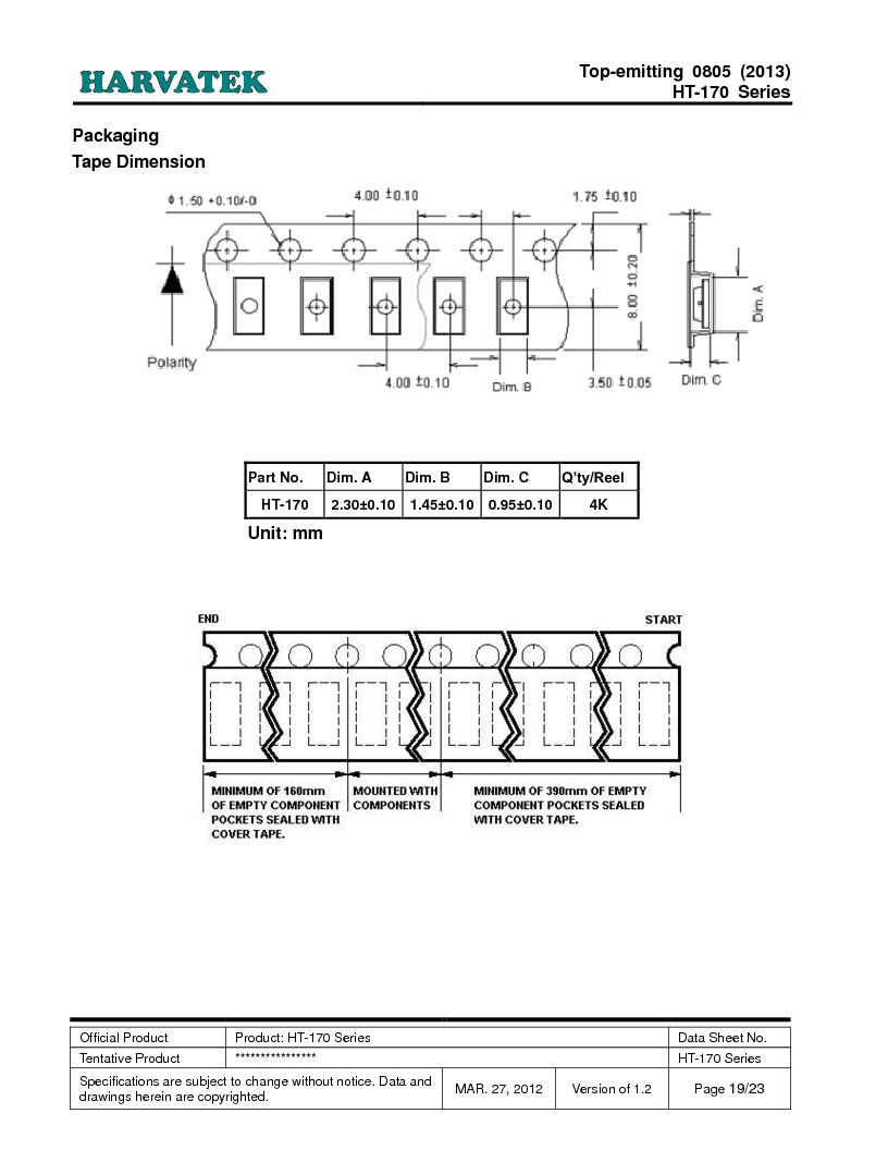 HT-170TW-5510 ,Harvatek International厂商,Standard LED - SMD White InGaN 220mcd 20mA, HT-170TW-5510 datasheet预览  第19页