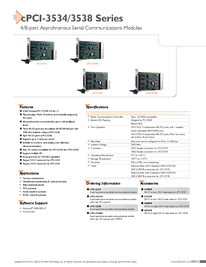 cPCI-3538R ,ADLINK Technology厂商,Interface Modules 8-PORT ASYNC SERIAL COMMUNICATION cPCI, cPCI-3538R datasheet预览  第1页