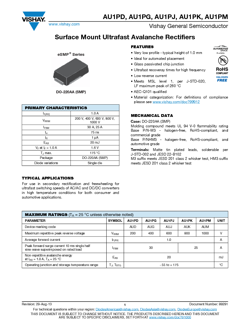AU1PK-M3/84A ,Vishay Semiconductors厂商,Rectifiers 1A 800V Ultrafast, AU1PK-M3/84A datasheet预览  第1页