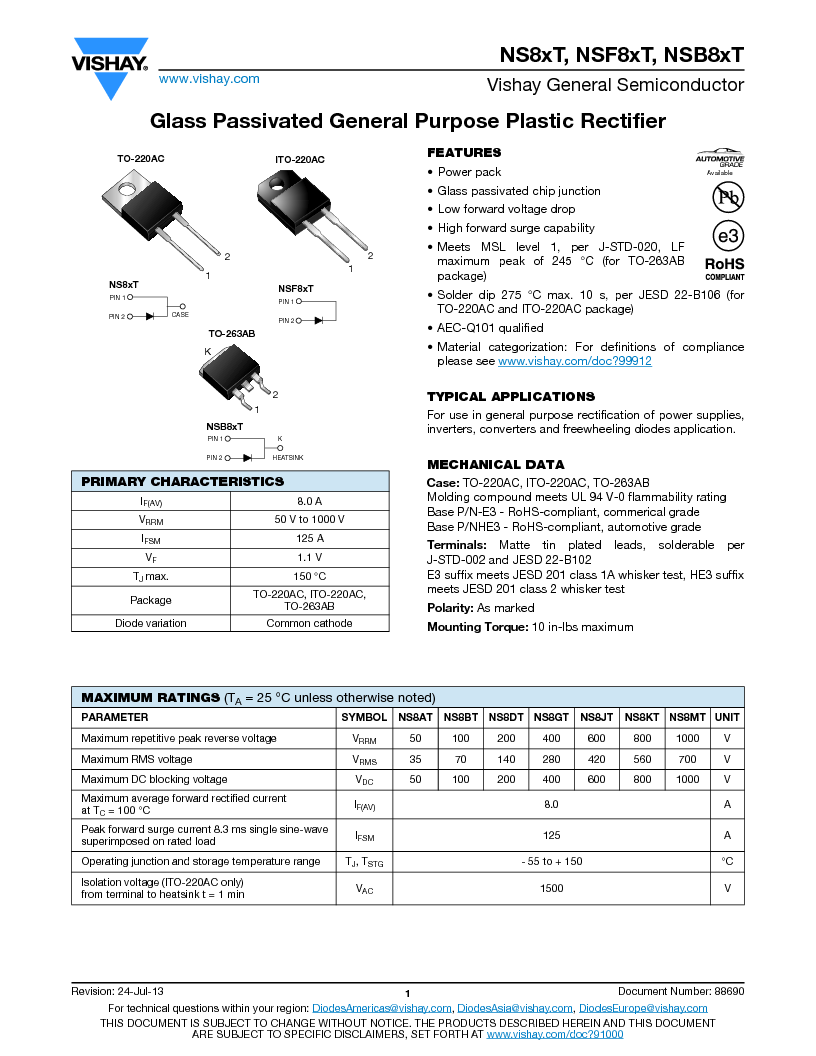 NS8ATHE3/45 ,Vishay Semiconductors厂商,Rectifiers 50 Volt 8.0 Amp 125 Amp IFSM, NS8ATHE3/45 datasheet预览  第1页