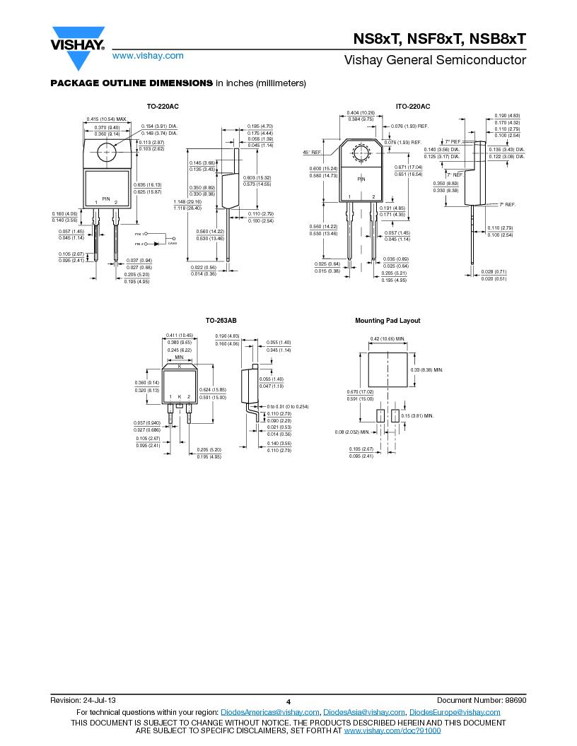 NS8ATHE3/45 ,Vishay Semiconductors厂商,Rectifiers 50 Volt 8.0 Amp 125 Amp IFSM, NS8ATHE3/45 datasheet预览  第4页