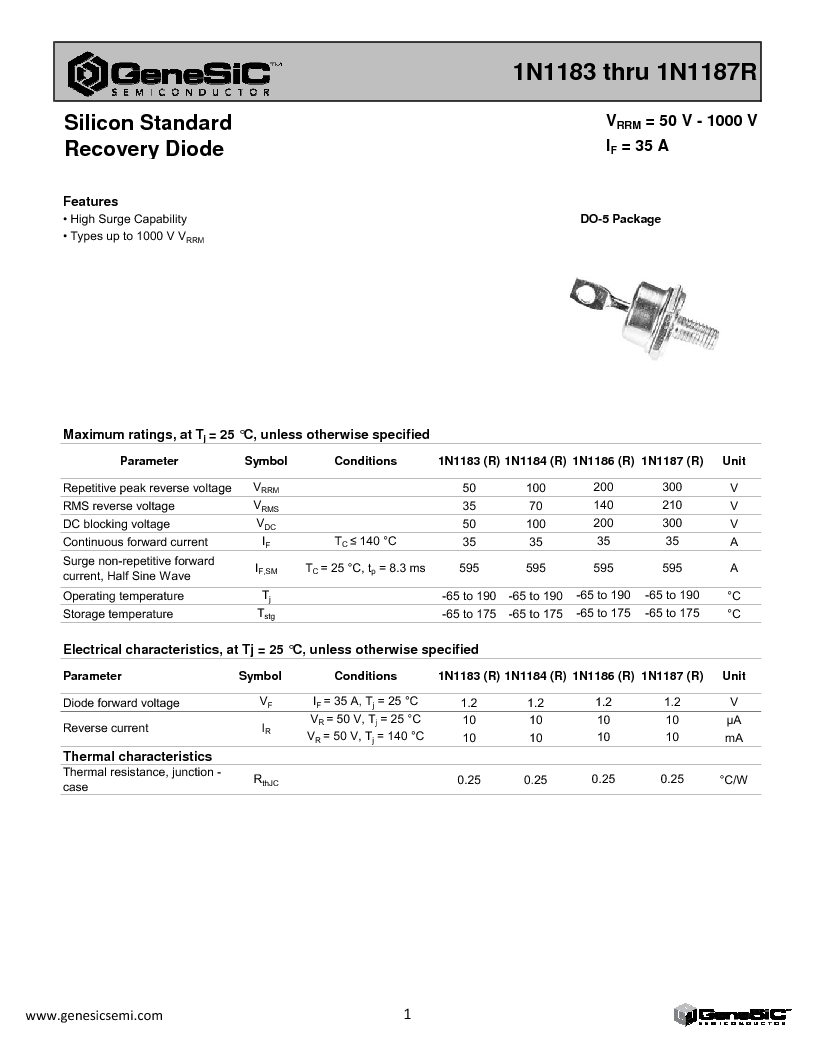 1N1187R ,GeneSiC Semiconductor厂商,Rectifiers 300V 35A REV Leads Std. Recovery, 1N1187R datasheet预览  第1页