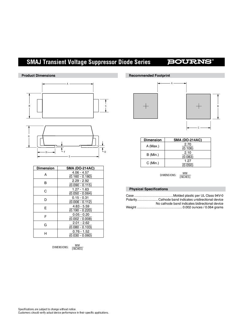 SMAJ11CA ,Bourns Inc厂商,TVS Diodes - Transient Voltage Suppressors 11volts 5uA 22 Amps Bi-Dir, SMAJ11CA datasheet预览  第3页