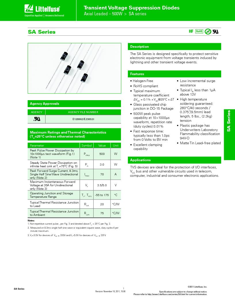 SA9.0CA ,Littelfuse Inc厂商,TVS Diodes - Transient Voltage Suppressors SA9.0CA Bi-Directional, SA9.0CA datasheet预览  第1页