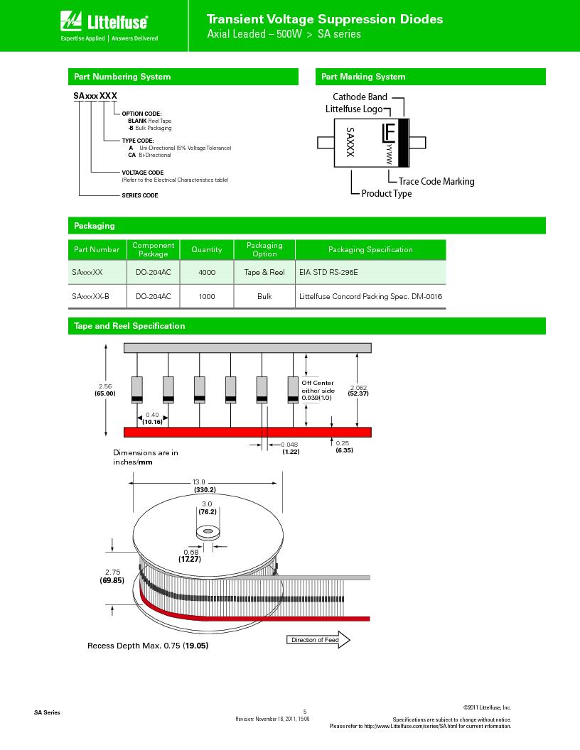 SA9.0CA ,Littelfuse Inc厂商,TVS Diodes - Transient Voltage Suppressors SA9.0CA Bi-Directional, SA9.0CA datasheet预览  第5页