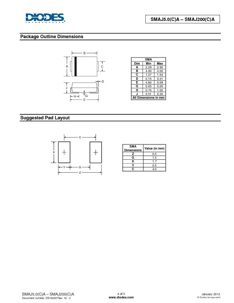SMAJ51CA-13-F ,Diodes Inc.厂商,TVS Diodes - Transient Voltage Suppressors 400W 51V, SMAJ51CA-13-F datasheet预览  第4页
