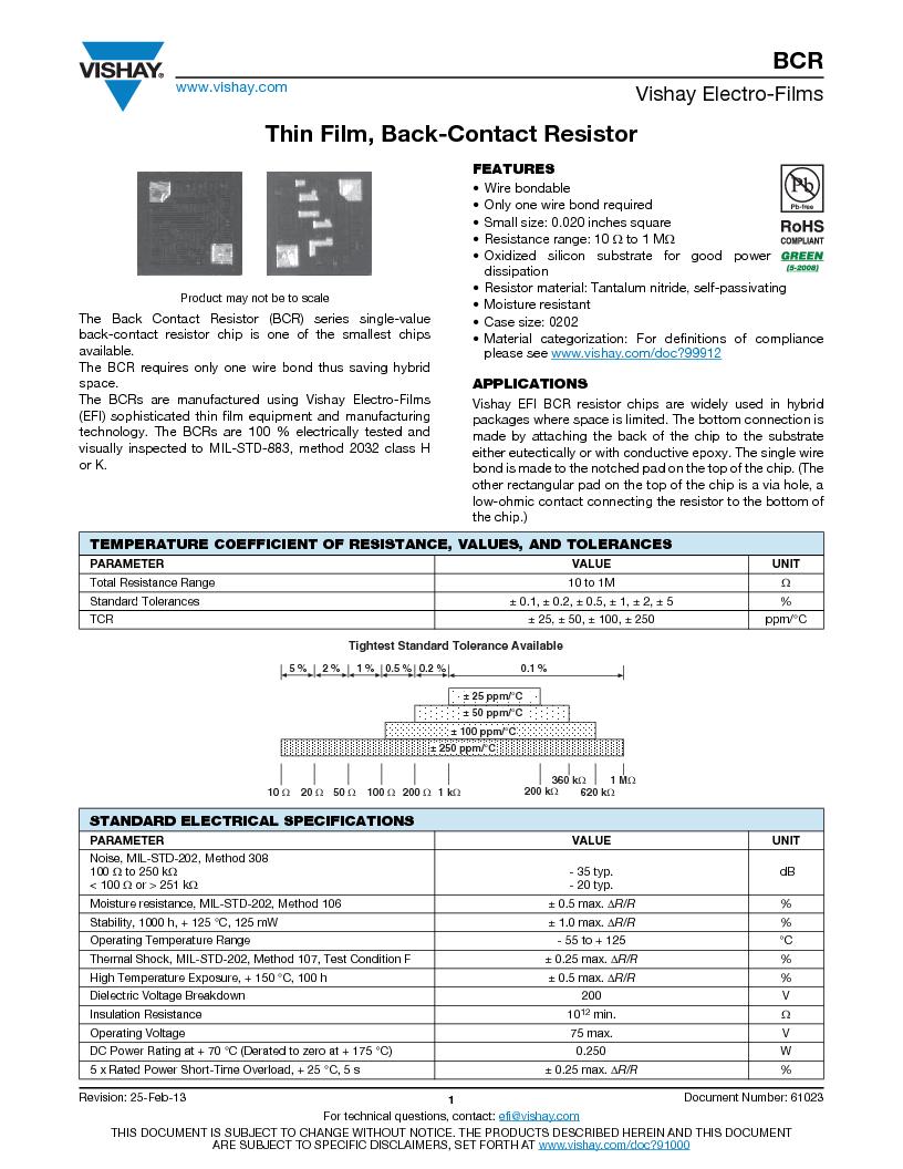 BCR1000BFMAHWS ,Vishay Electro-Films厂商,RES 10 OHM 1/4W 1% BACK-C CHIP, BCR1000BFMAHWS datasheet预览  第1页