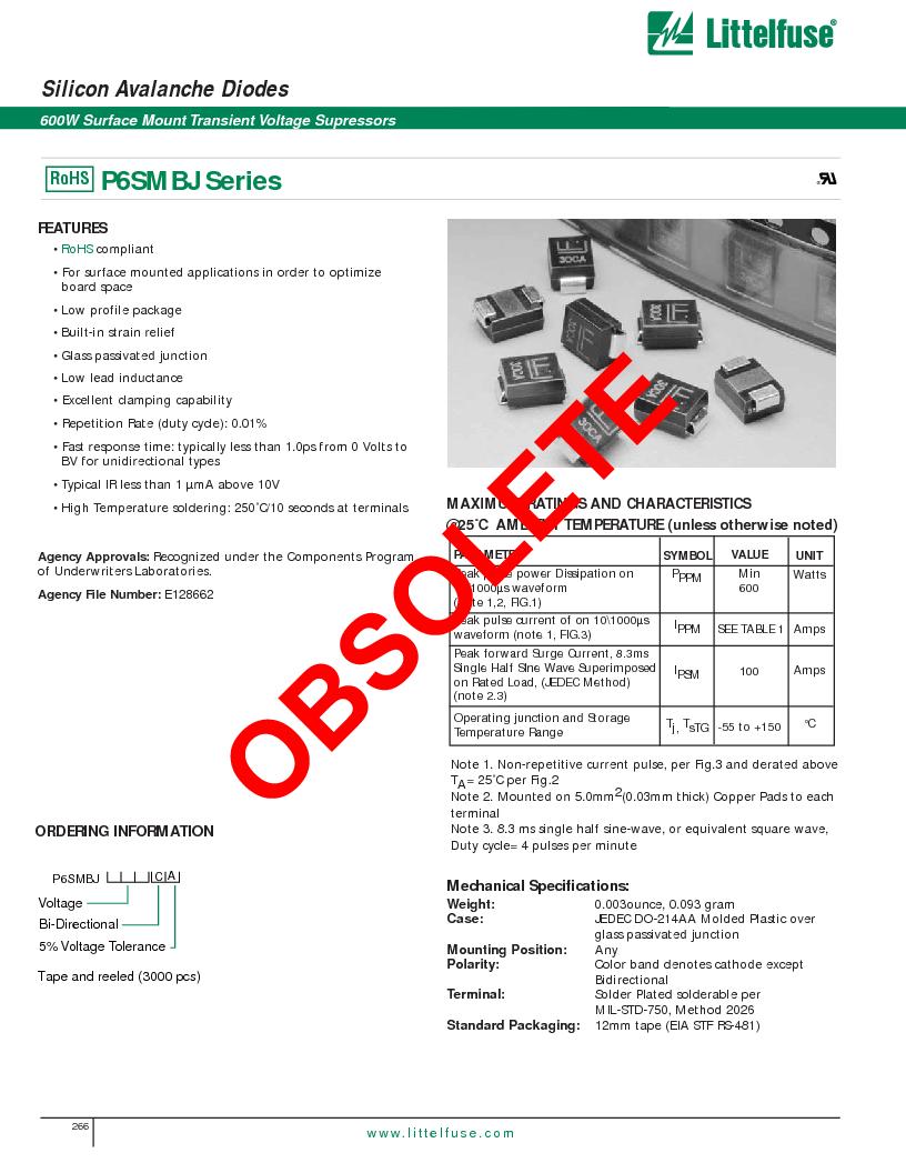 P6SMBJ6.8CA ,Littelfuse Inc厂商,DIODE TVS 6.8V 600W BIDIR 5% SMB, P6SMBJ6.8CA datasheet预览  第1页