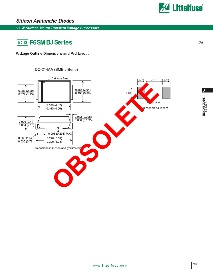 P6SMBJ6.8CA ,Littelfuse Inc厂商,DIODE TVS 6.8V 600W BIDIR 5% SMB, P6SMBJ6.8CA datasheet预览  第4页