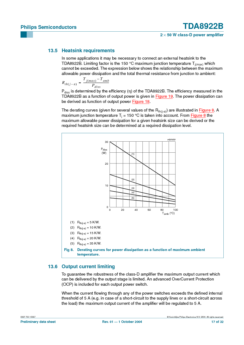 TDA8922BTH/N2,118 ,NXP Semiconductors厂商,Audio Amplifiers 2X50W CLASSD PWR AMP, TDA8922BTH/N2,118 datasheet预览  第17页