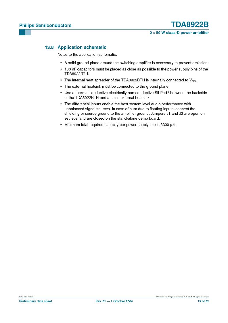 TDA8922BTH/N2,118 ,NXP Semiconductors厂商,Audio Amplifiers 2X50W CLASSD PWR AMP, TDA8922BTH/N2,118 datasheet预览  第19页