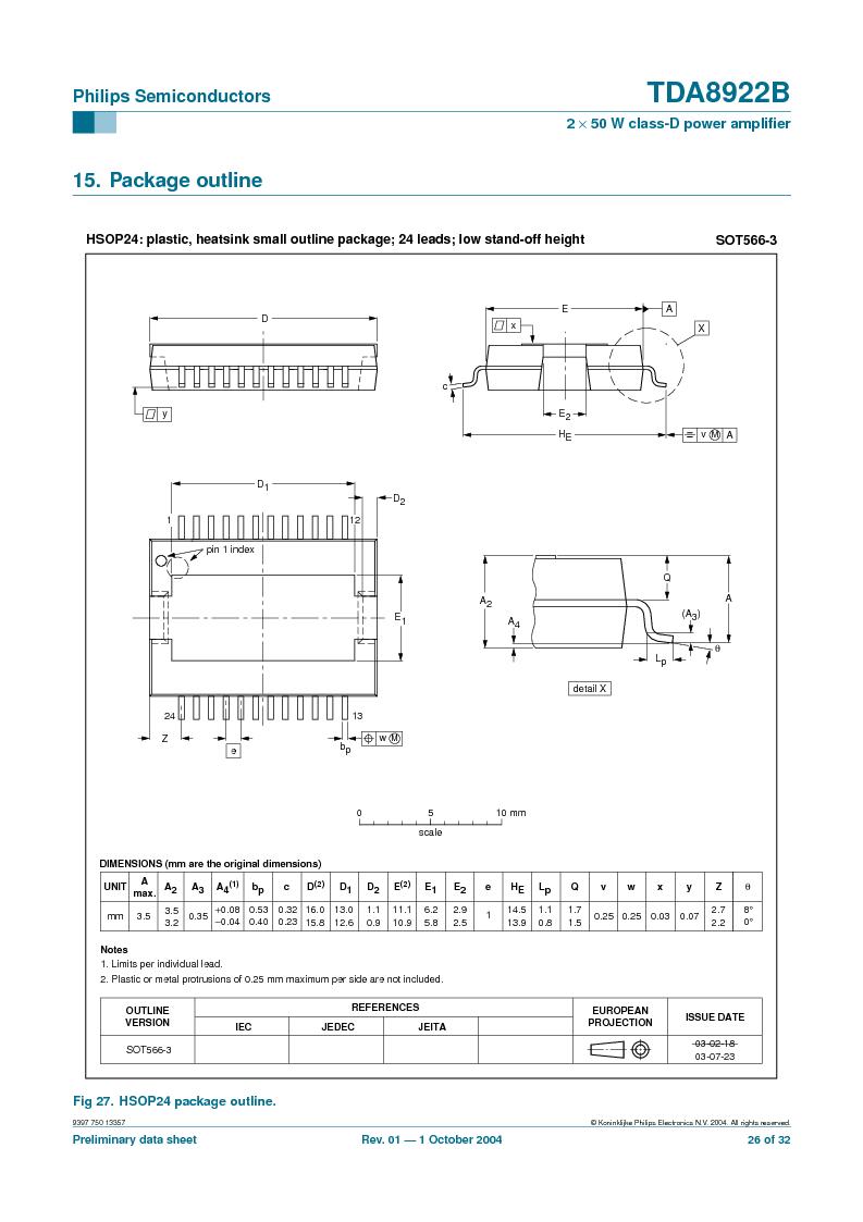 TDA8922BTH/N2,118 ,NXP Semiconductors厂商,Audio Amplifiers 2X50W CLASSD PWR AMP, TDA8922BTH/N2,118 datasheet预览  第26页