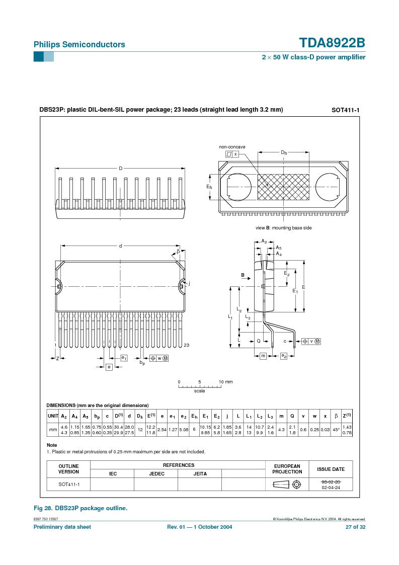 TDA8922BTH/N2,118 ,NXP Semiconductors厂商,Audio Amplifiers 2X50W CLASSD PWR AMP, TDA8922BTH/N2,118 datasheet预览  第27页