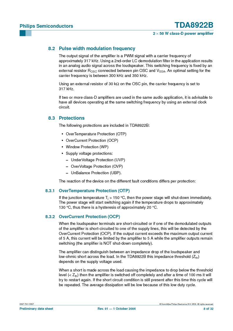 TDA8922BTH/N2,118 ,NXP Semiconductors厂商,Audio Amplifiers 2X50W CLASSD PWR AMP, TDA8922BTH/N2,118 datasheet预览  第8页