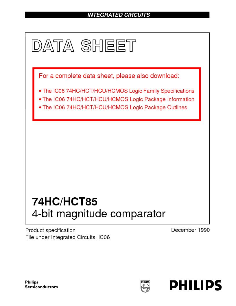 74HC85DB,118 ,NXP Semiconductors厂商,IC COMPARATOR MAGNITUDE 16SSOP, 74HC85DB,118 datasheet预览  第1页