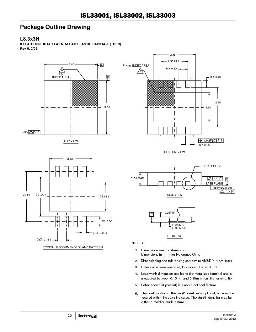 ISL33002IUZ-T ,Intersil厂商,IC BUS BUFF HOTSWAP 2WR 8MSOP, ISL33002IUZ-T datasheet预览  第15页