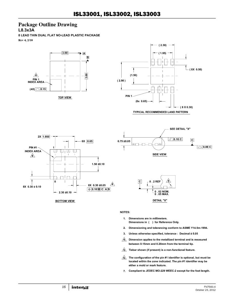 ISL33002IUZ-T ,Intersil厂商,IC BUS BUFF HOTSWAP 2WR 8MSOP, ISL33002IUZ-T datasheet预览  第16页