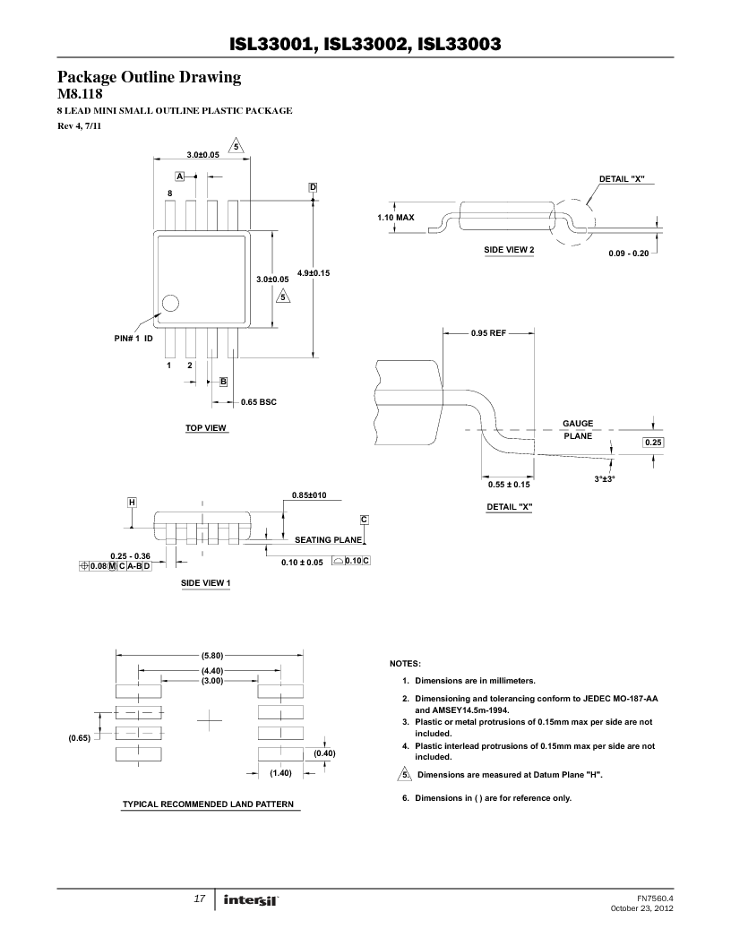 ISL33002IUZ-T ,Intersil厂商,IC BUS BUFF HOTSWAP 2WR 8MSOP, ISL33002IUZ-T datasheet预览  第17页