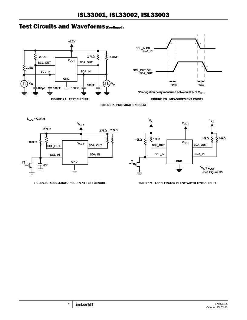 ISL33002IUZ-T ,Intersil厂商,IC BUS BUFF HOTSWAP 2WR 8MSOP, ISL33002IUZ-T datasheet预览  第7页