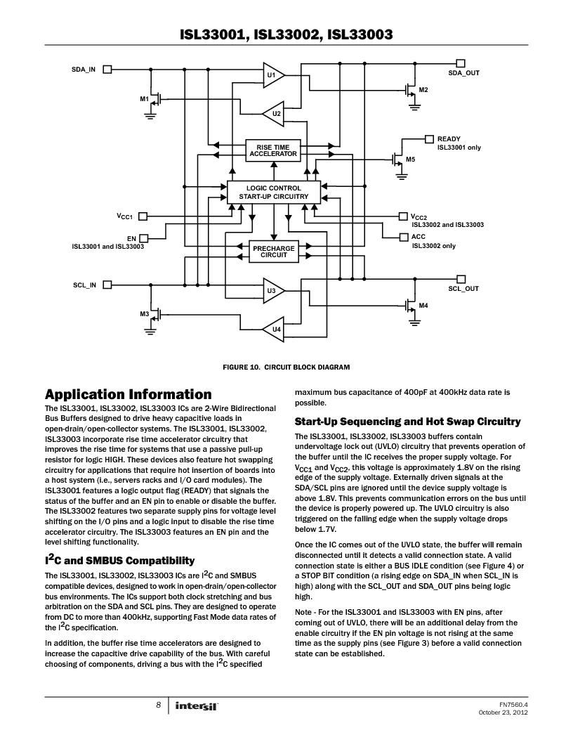 ISL33002IUZ-T ,Intersil厂商,IC BUS BUFF HOTSWAP 2WR 8MSOP, ISL33002IUZ-T datasheet预览  第8页