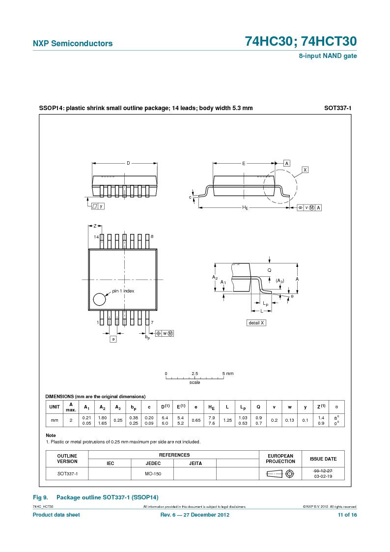 74HC30PW,118 ,NXP Semiconductors厂商,IC 8-INPUT NAND GATE 14TSSOP, 74HC30PW,118 datasheet预览  第11页