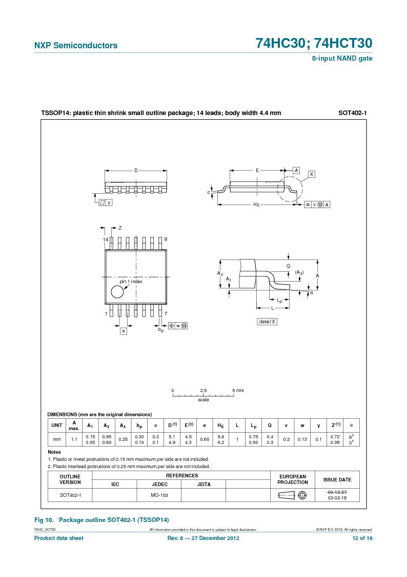 74HC30PW,118 ,NXP Semiconductors厂商,IC 8-INPUT NAND GATE 14TSSOP, 74HC30PW,118 datasheet预览  第12页