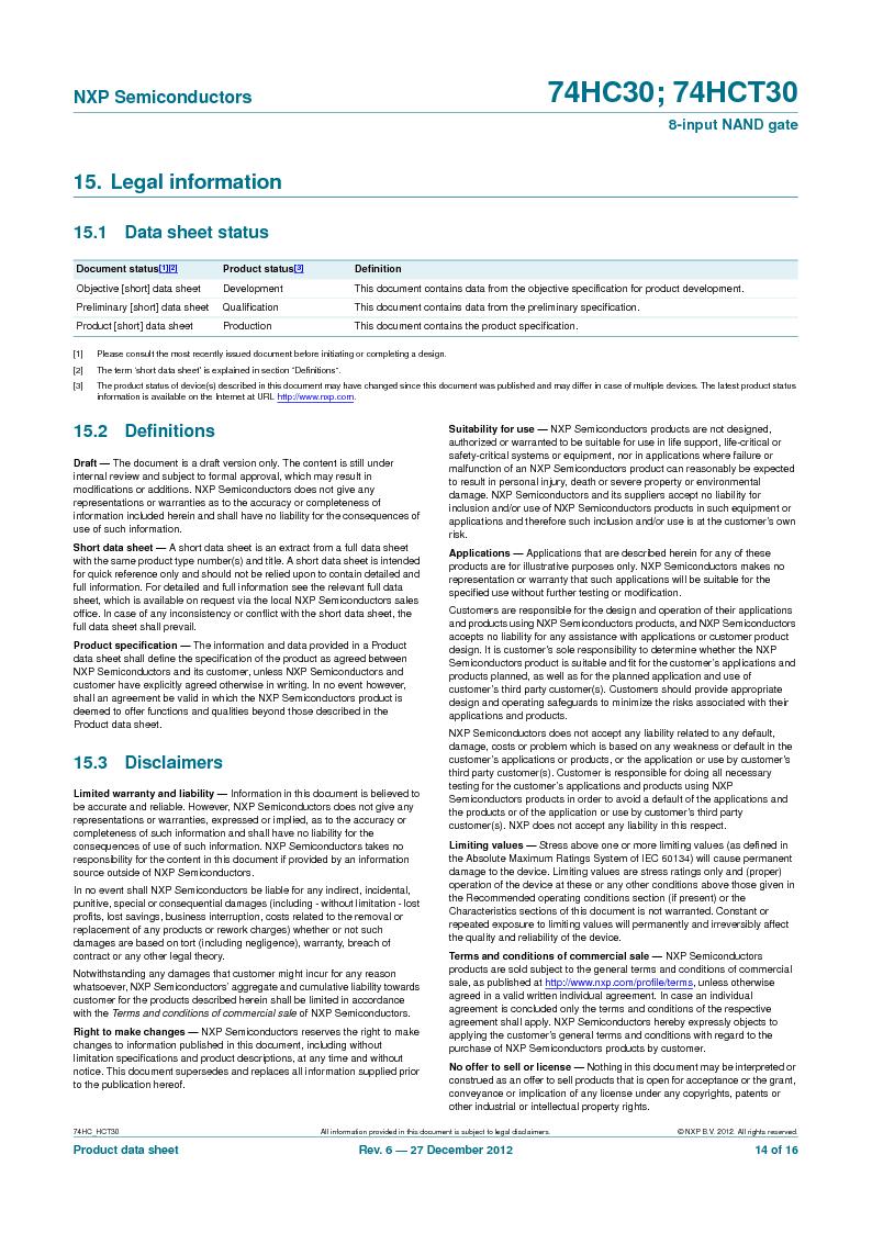74HC30PW,118 ,NXP Semiconductors厂商,IC 8-INPUT NAND GATE 14TSSOP, 74HC30PW,118 datasheet预览  第14页