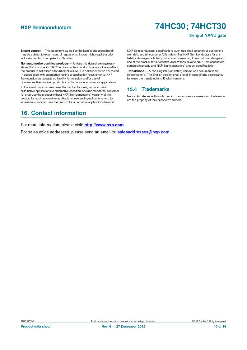 74HC30PW,118 ,NXP Semiconductors厂商,IC 8-INPUT NAND GATE 14TSSOP, 74HC30PW,118 datasheet预览  第15页