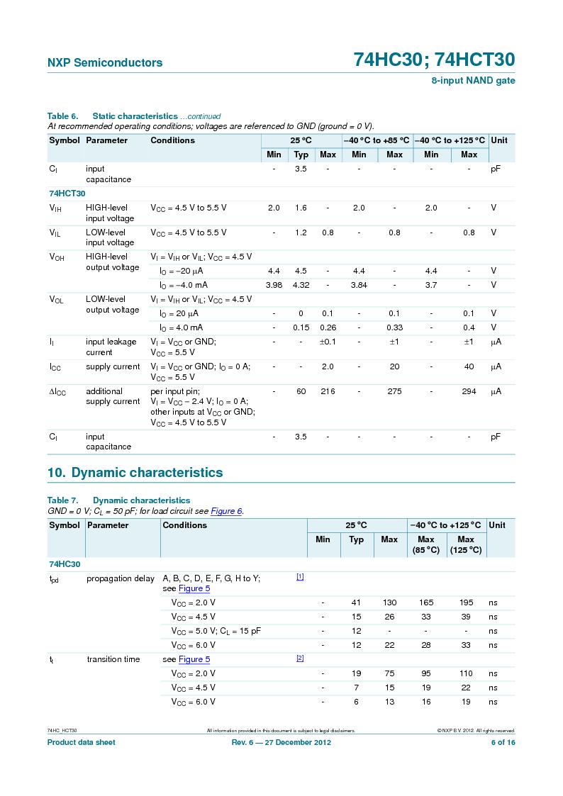 74HC30PW,118 ,NXP Semiconductors厂商,IC 8-INPUT NAND GATE 14TSSOP, 74HC30PW,118 datasheet预览  第6页