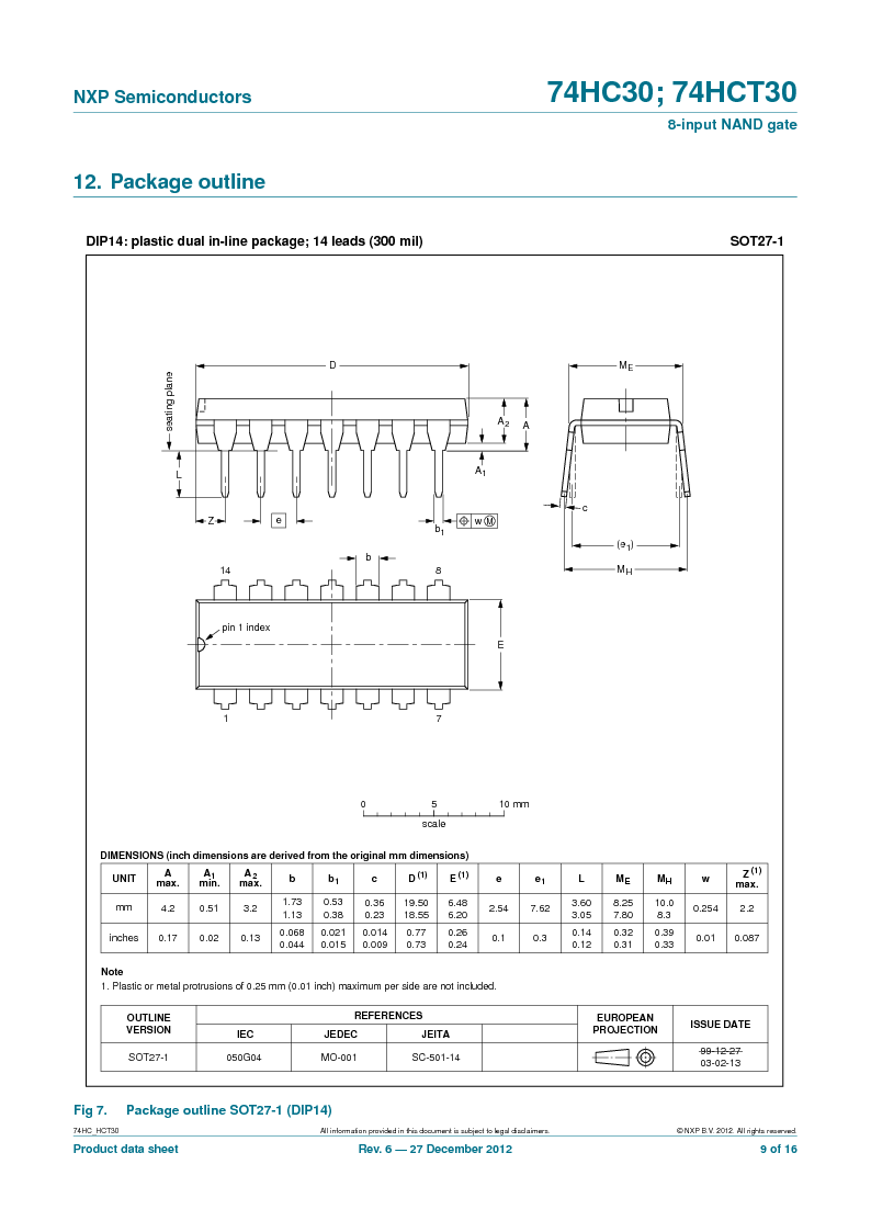74HC30PW,118 ,NXP Semiconductors厂商,IC 8-INPUT NAND GATE 14TSSOP, 74HC30PW,118 datasheet预览  第9页