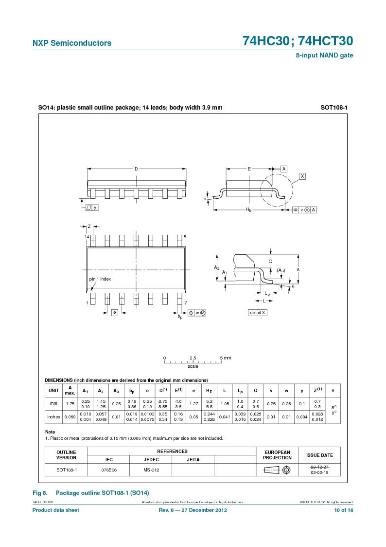 74HC30PW,118 ,NXP Semiconductors厂商,IC 8-INPUT NAND GATE 14TSSOP, 74HC30PW,118 datasheet预览  第10页