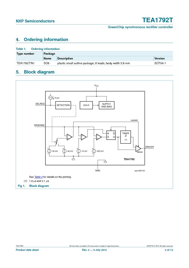 TEA1792T/N1,118 ,NXP Semiconductors厂商,DC/DC Switching Controllers 20V 0.45W 10%, TEA1792T/N1,118 datasheet预览  第2页