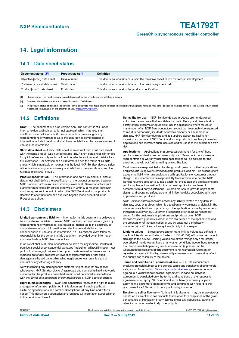 TEA1792T/N1,118 ,NXP Semiconductors厂商,DC/DC Switching Controllers 20V 0.45W 10%, TEA1792T/N1,118 datasheet预览  第11页